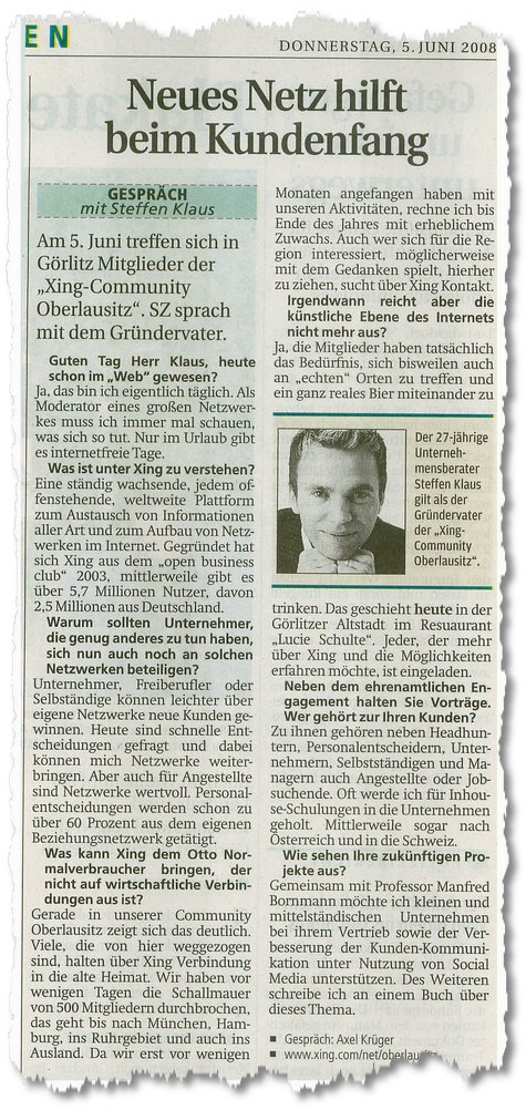 Interview mit Steffen Klaus in der SZ